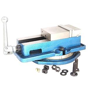 "HFS (Tm) 3"" Milling Machine Lockdown Vise -Swiveling Base - Hardened Metal - CNC Vise"