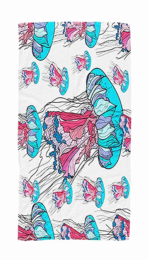 cleaer Yoga Towel Travel,Pattern with Jellyfish on White ...