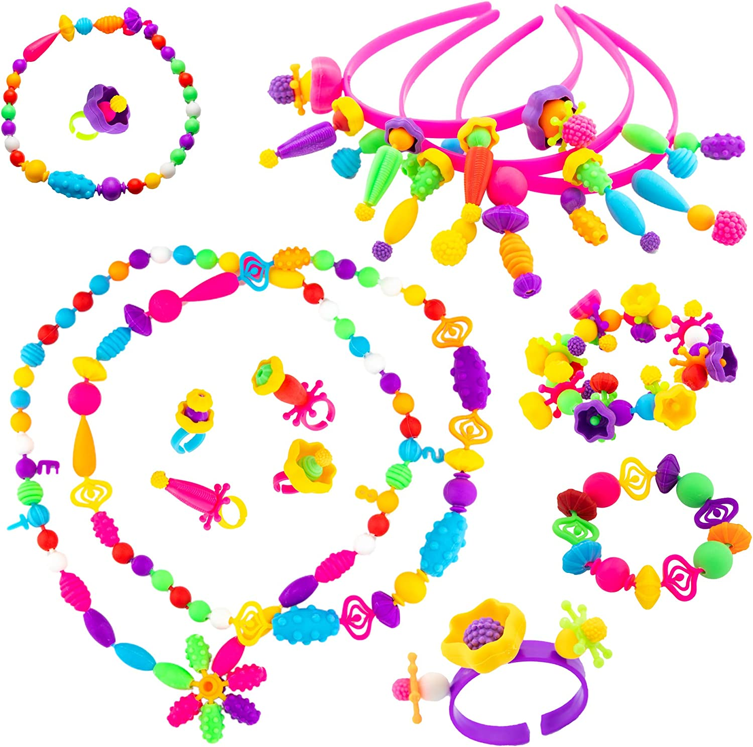 5 4 DIY Pop Beads Jewelry Snap beads for girls 6 Pop Beads Kids Designed Gift Box 8 years old 550+pc for Pop Beads for Girls 3 7 Pop snap Jewelry for Toddler Necklace kit Pop it Beads Craft