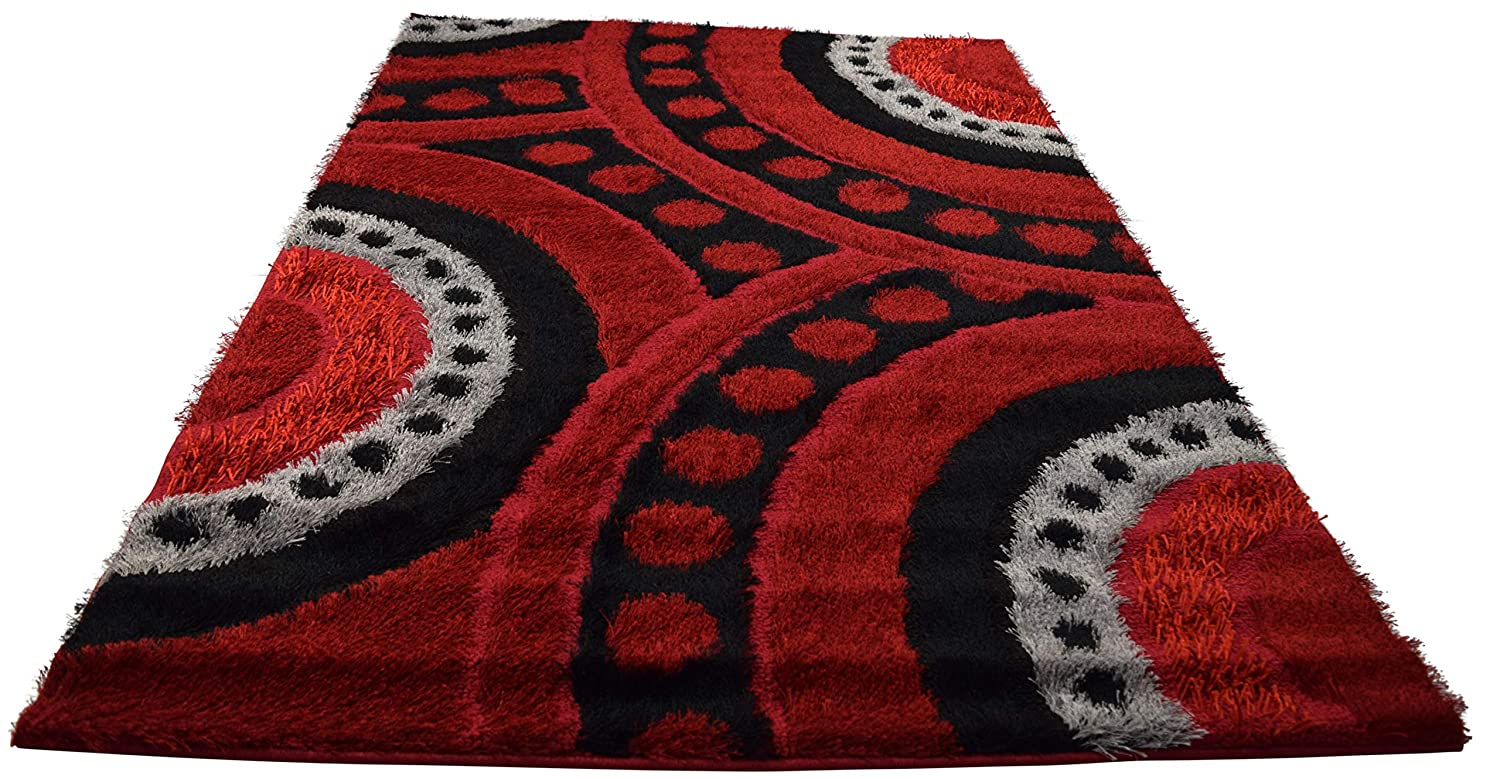 , Red//Black Estex Home Fashions Polyester Shaggy Rug with Beautifully Multicolored Modern Design Perfect for Any Bedroom or Living Room 3 X 4.5 90 X 135 cm