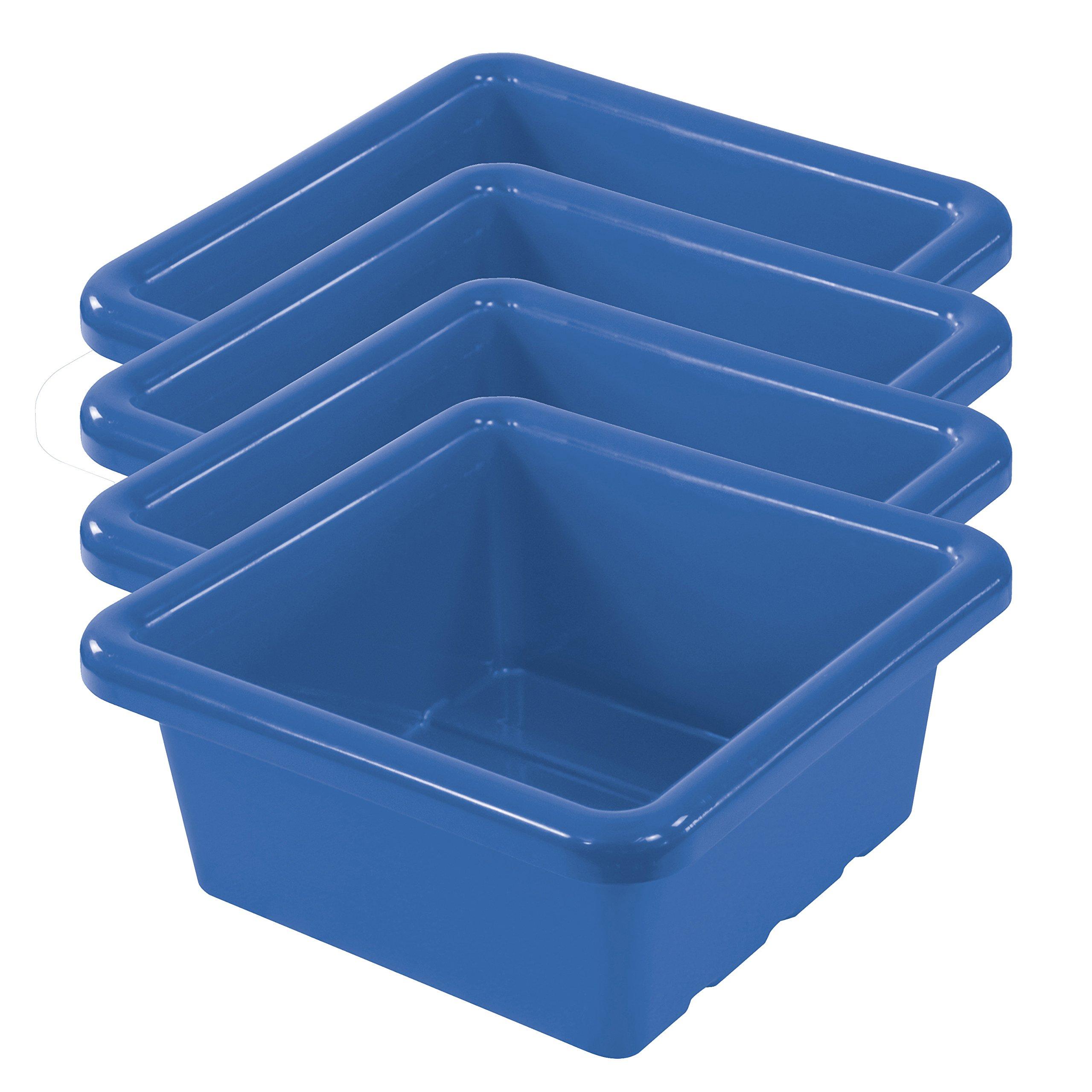 ECR4Kids Square Storage Tray, Blue (4-Pack)