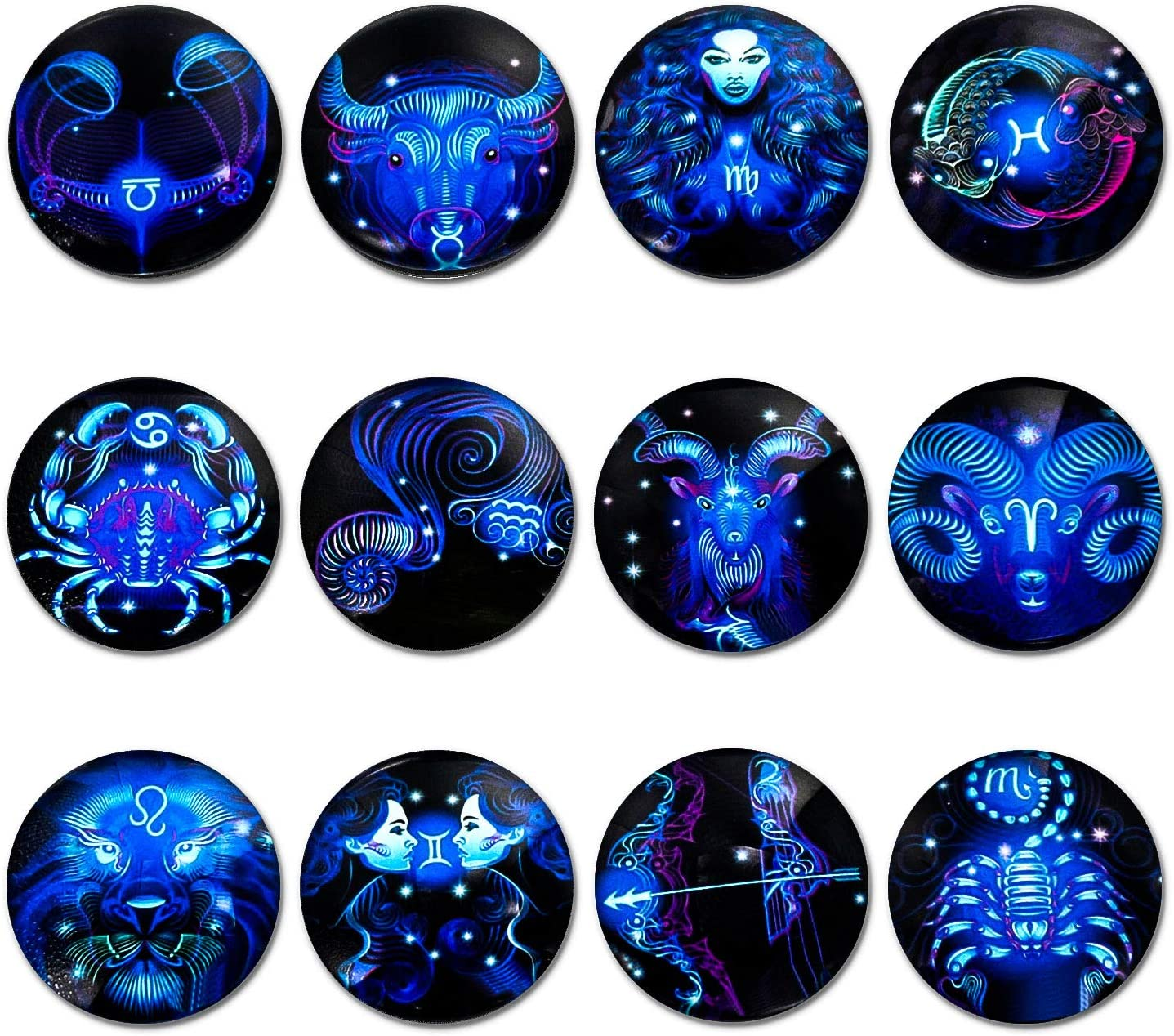 simpletome Fridge Magnets Strong 12Pack Luminous 3D Glass 1.58inch Diameter Bigger Size Lifelike for Refrigerator Office Whiteboard Home Decoration (Constellation)