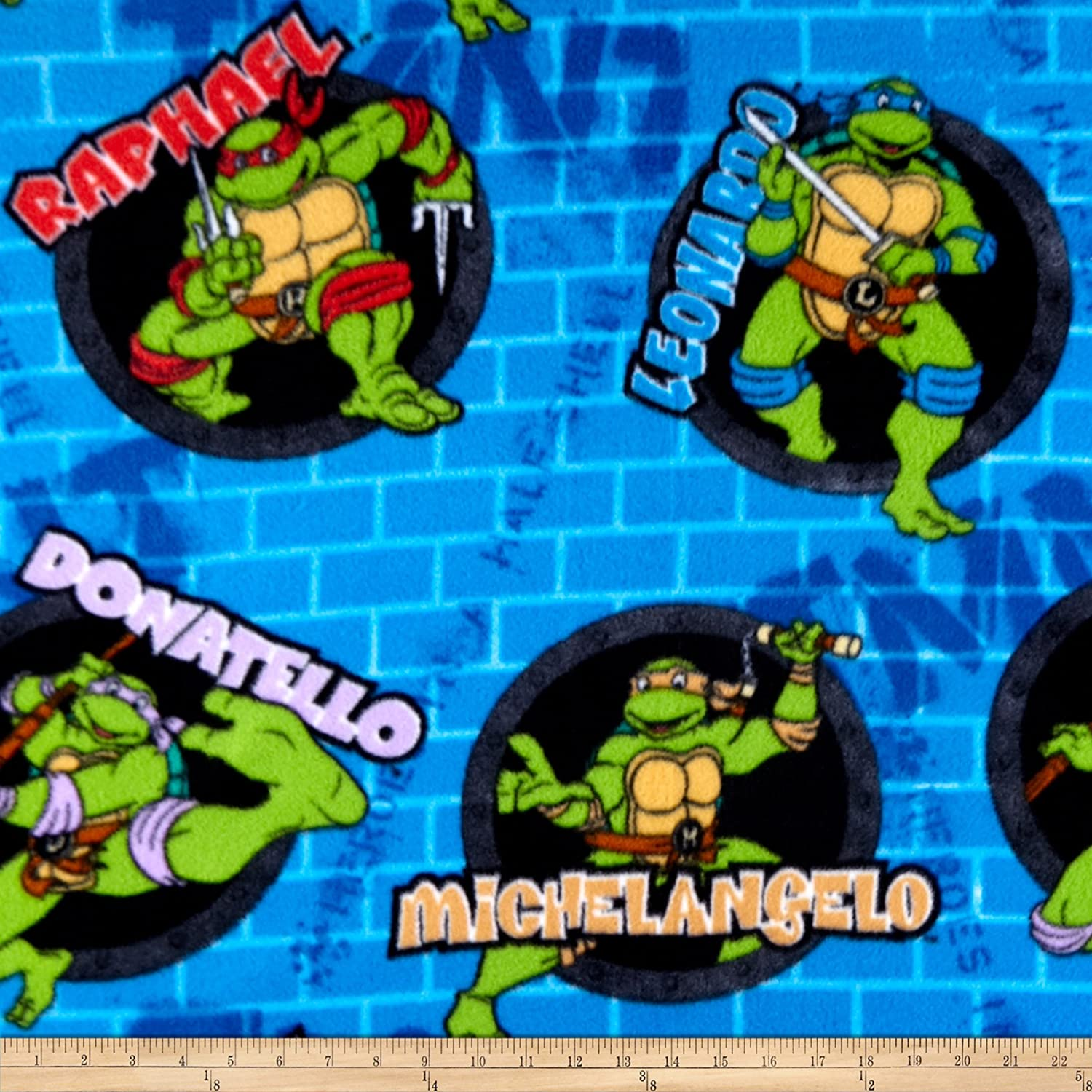 Springs Creative Products Group Teenage Mutant Ninja Turtles Blue Fabric by the Yard Fleece 59//60-Inch Wide Power Sewer Holes and Names