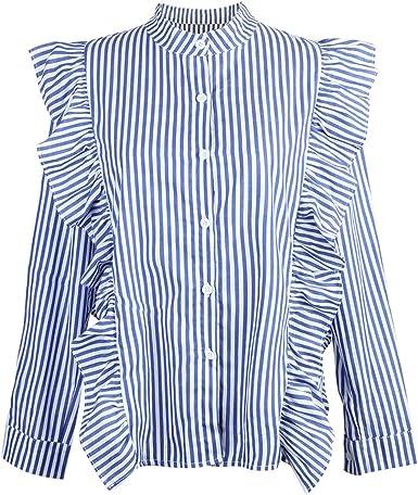 Camiseta de Rayas Azules Finas con Volantes Camisa de Manga ...
