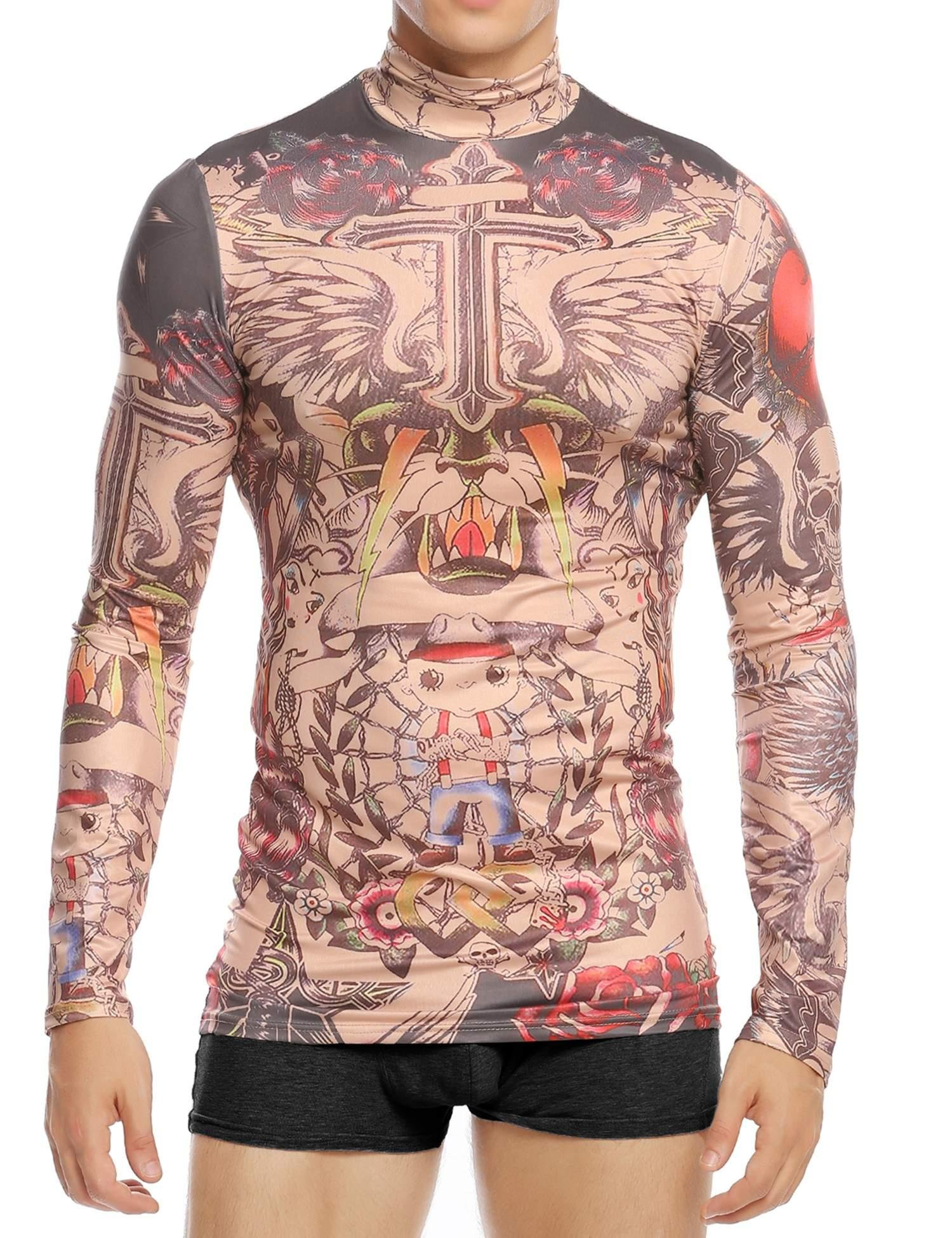 Goodfans Men's Fake Tattoo Tribal Inspired Print Elastic Long Sleeve T-Shirt Tops Clubwear