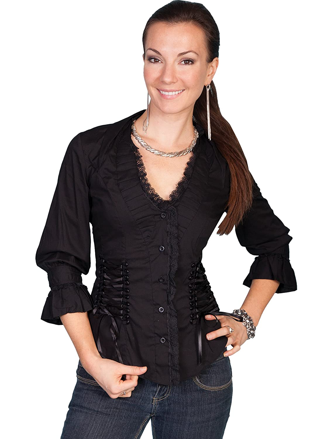 Victorian Clothing, Costumes & 1800s Fashion Scully Womens Lace Up Back 3/4 Length Top $76.75 AT vintagedancer.com