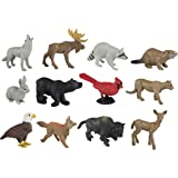 Safari Ltd Nature TOOB - Comes With 12 Different Hand Painted Figurine Models Including Gray Wolf, Moose, Raccoon, Beaver, Rabbit, Black Bear, Cardinal, Cougar, Bald Eagle, Fox, Buffalo, and Doe