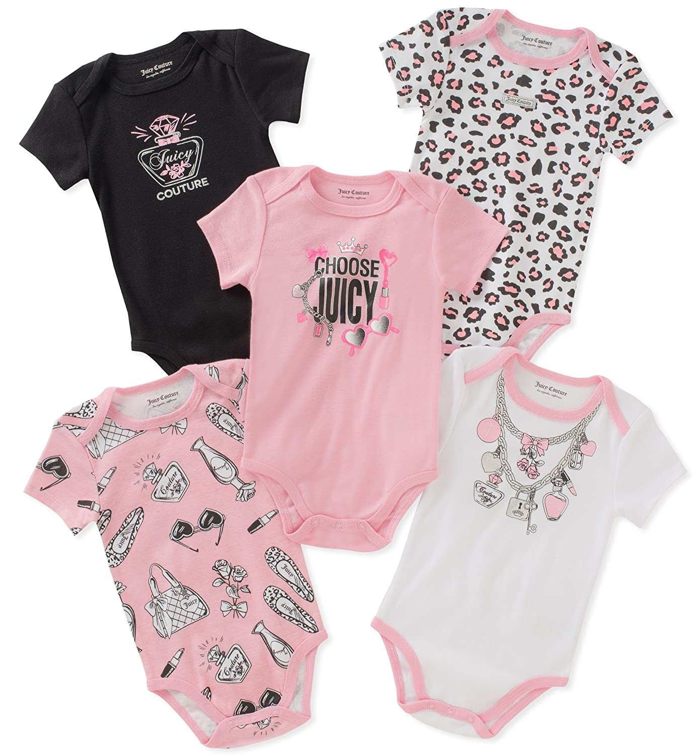 1a64fc132405 Amazon.com  Juicy Couture Baby Girls 5 Packs Bodysuit  Clothing