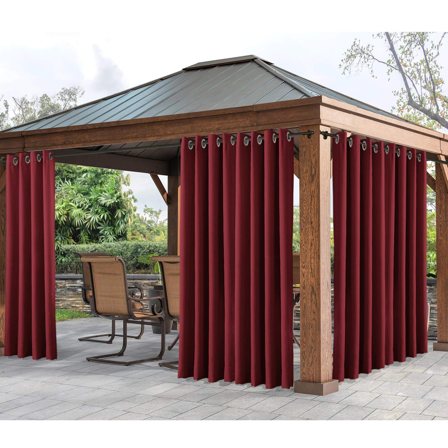cololeaf Outdoor Curtains for Patio Extra Wide Waterproof Curtain Panels for Porch, Gazebo, Pergola, Cabana, Dock, Beach Home - Grommet - Red 150'' Wx96 L Inch (1 Panel)