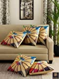 """Romee Multicolor Polyester Jute Fabric Pencil Print Cushion Cover 16"""" x 16"""" (Set of 5)"""