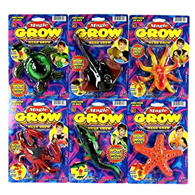JA-RU Magic Grow Sea Creatures (6 Pack Assorted) Grow Toy Game Favor Item #302-6slp: Toys & Games