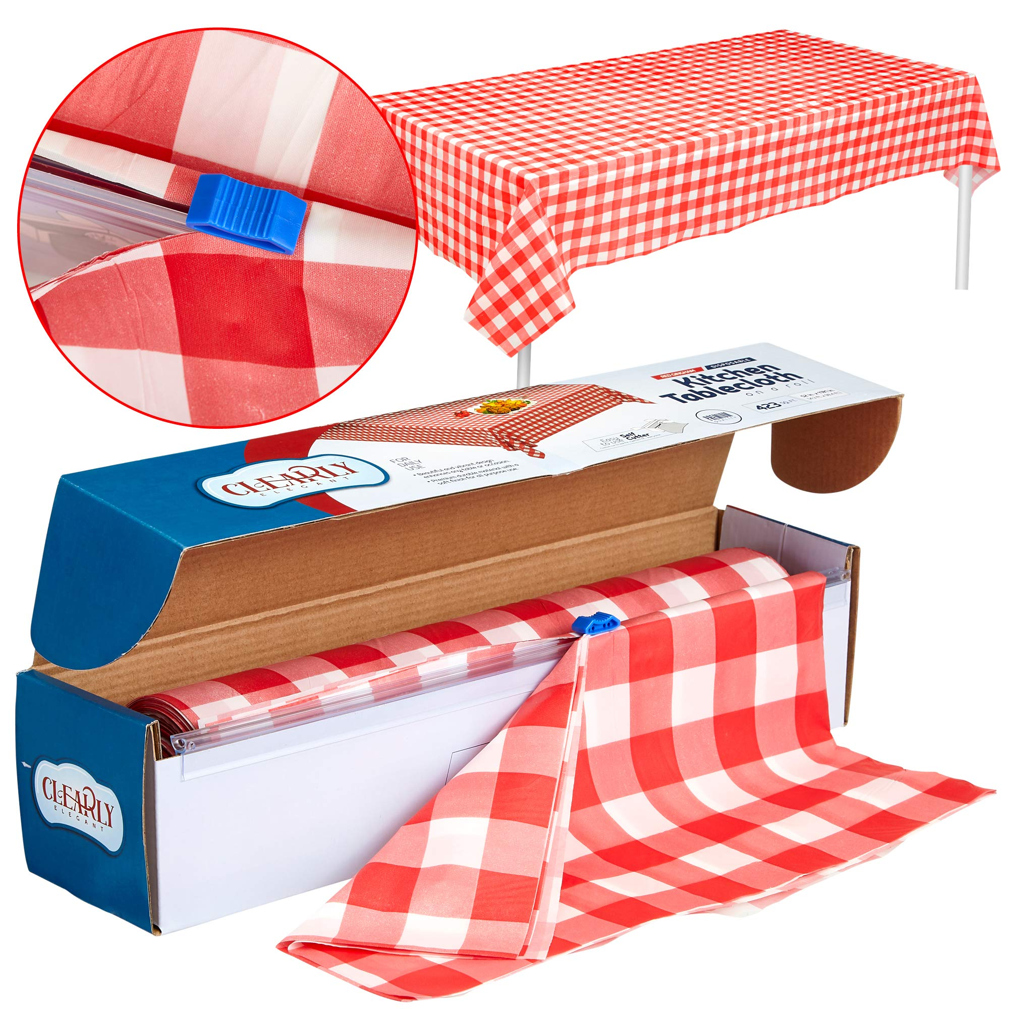Red Gingham Plastic Tablecloth Roll With Cutter, 100' x 52'' - Heavy Duty Party Table Cloth In Self Cutting Box - For Picnics, BBQs, and Birthday Parties - By Clearly Elegant by Clearly Elegant