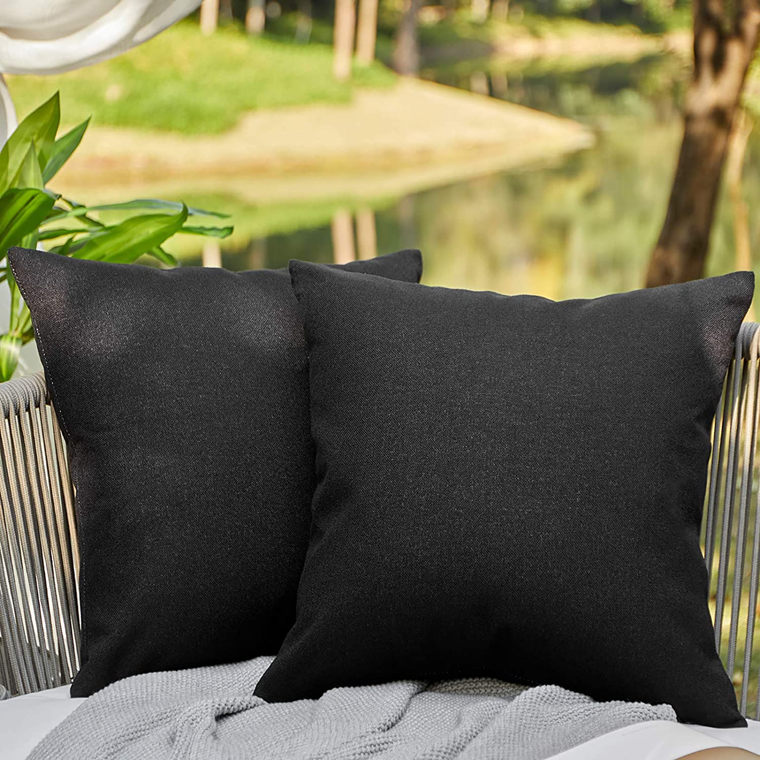 WAYIMPRESS Outdoor Pillows for Patio Furniture Waterproof Pillow Covers Square Garden Cushion Farmhouse Linen Throw Pillow Covers Shell for Patio Tent Couch(18 x 18,Black)