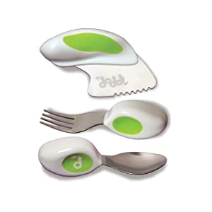 Doddl Cutlery Set Lime Green - Knife, fork and spoon set. For babies or children 12+ months old. Help teach your baby or toddler to self-feed with ease using cutlery in the right way. Ergonomic design created to be effective and educational. Dishwasher safe and child friendly. Made from food-grade high quality plastic and stainless steel. Created and designed by mums, researched with child development specialists and tested for 18 months. Certified to BS EN 14372.