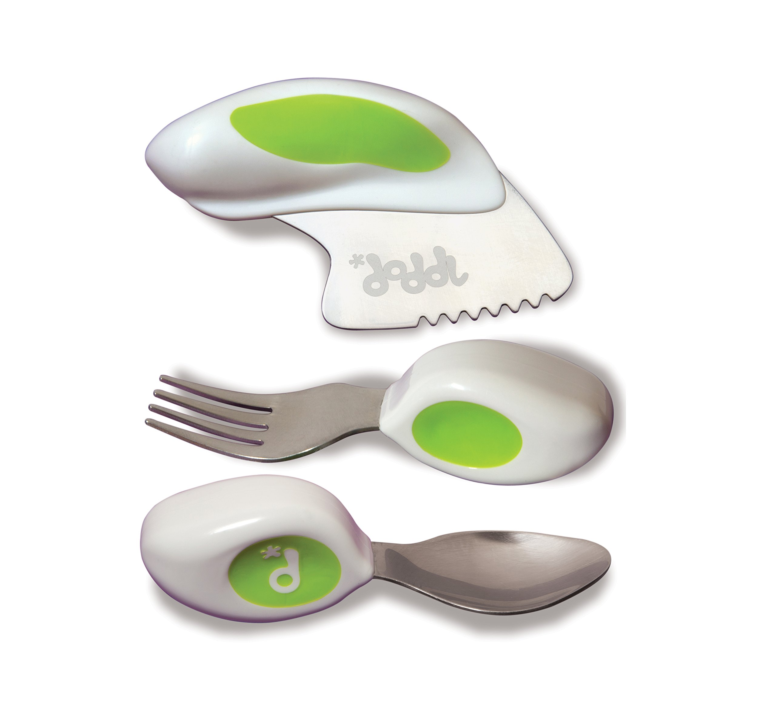 Doddl Knife, Fork & Spoon Cutlery Set, for Children, Toddlers or Babies 12 Months +, Flatware That Promotes Self Feeding Helping Kids to Use Silverware Utensils in The Right Way (Lime Green)