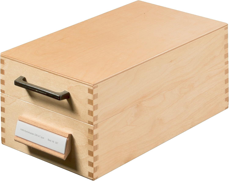 Han 507 - Archivador de fichas tamaño A7 50 x 250 x 110 mm color madera: Amazon.es: Oficina y papelería