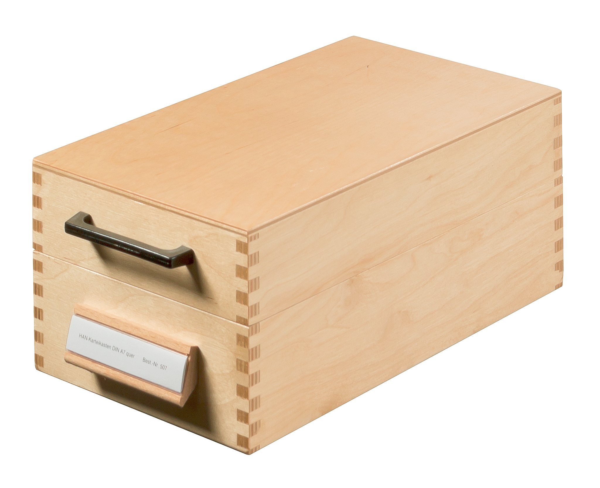 HAN 507, Wooden Card Filing Box A7 Landscape, for 900 Cards, Metal Base/Support Plate, Natural Wood by HAN