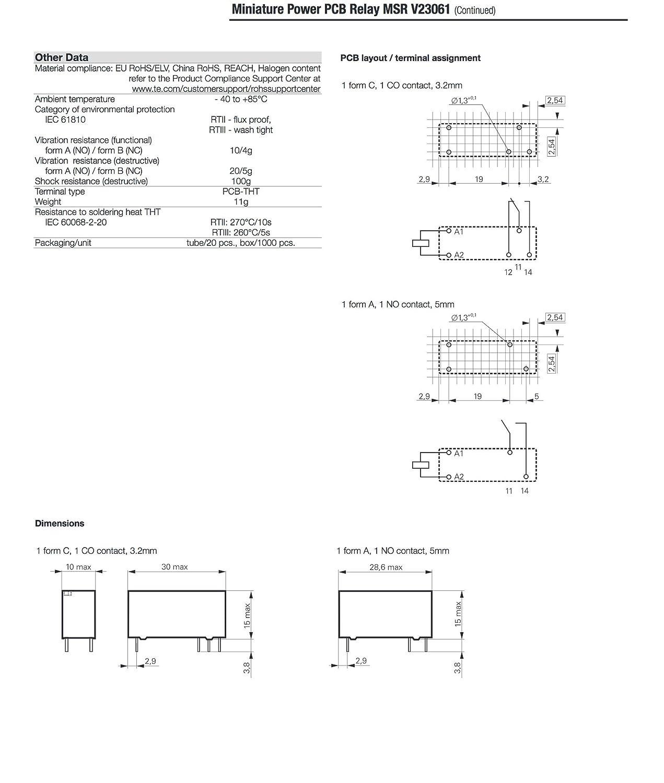SCHRACK v23061/a1005/a402/2/ 1/No 8/a 250/V AC//12/V DC /3/MS rel/è /1393222/