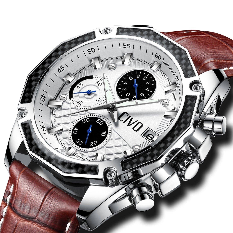 [チーヴォ]CIVO腕時計 メンズレザーウオッチブラウン クロノグラフ防水 日付カレンダーアナログクオーツ時計 ビッグフェイス ビジネスカジュアル男性用腕時計