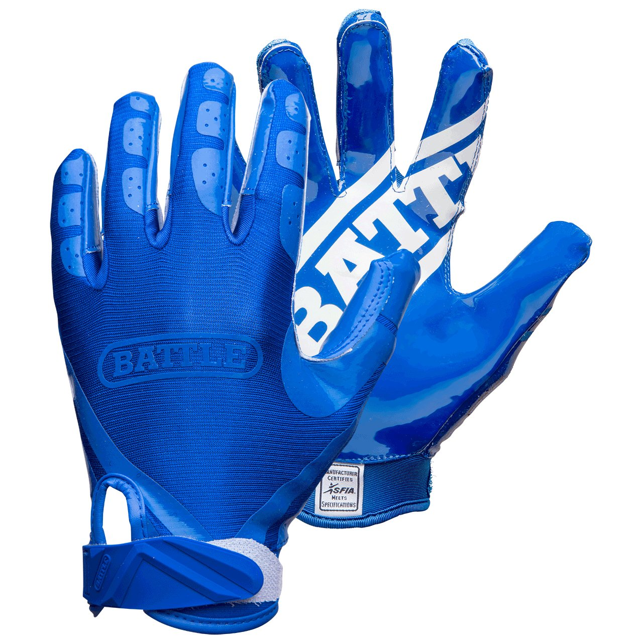 Battle Double Threat Adult Football Gloves, Blue, Small