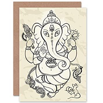 NEW GANESHA ILLUSTRATION INDIAN GOD BLANK GREETINGS BIRTHDAY CARD ART CP277