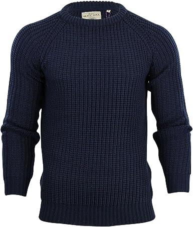 Mens Jumper Brave Soul /'Cassini/' Ribbed Knit Crew Neck Sweater Navy, S