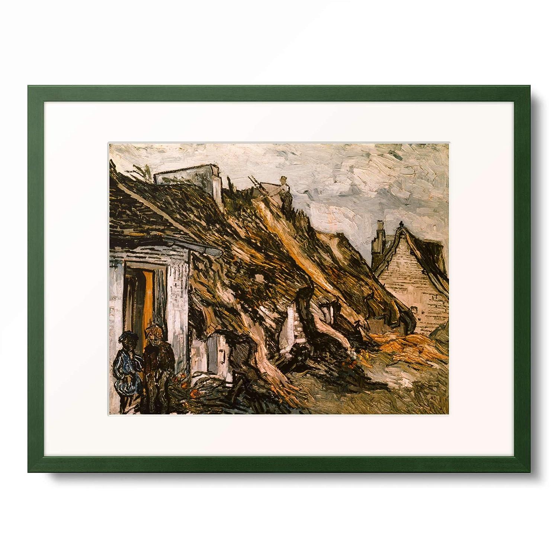 フィンセントファンゴッホ Vincent Willem van Gogh 「Thatched Cottages in Chaponval」 額装アート作品 B07PGCTP1D 12.木製額 13mm(緑) M(額内寸 379mm×288mm) M(額内寸 379mm×288mm) 12.木製額 13mm(緑)