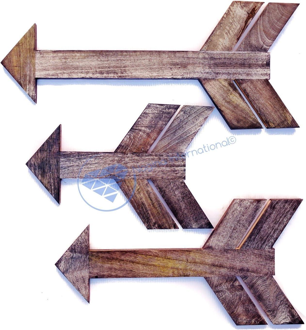 Nagina International Rustic Wooden Arrows Set of 3 Arrows Wood Arrow Decor Arrow Wall Decor Rustic Home Decor Arrow Sign Modern Wood Arrow