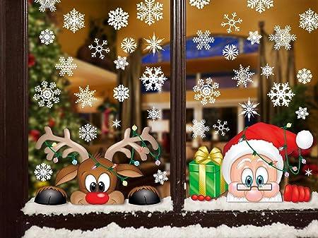 Merry Christmas Tree /& 4 flocons de neige autocollants Fenêtre Décoration Réutilisable Noël