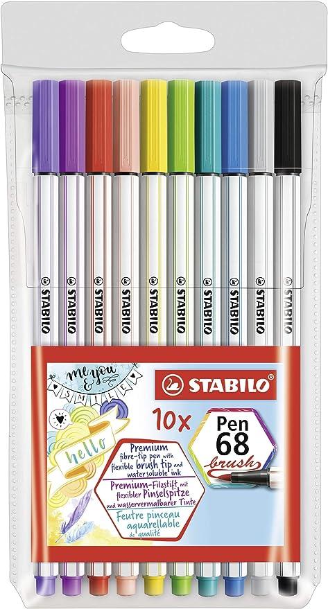 Rotulador punta de pincel STABILO Pen 68 brush Estuche con 15 colores