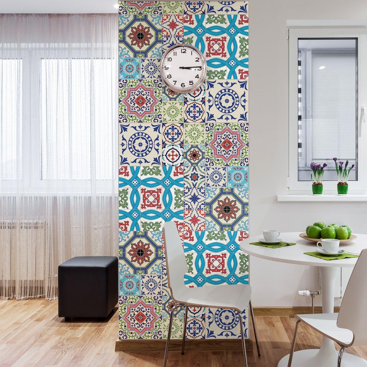 Stickers adhé sifs carrelages muraux azulejos - 20 x 20 cm - 30 piè ces Ambiance-Live col-RV-0380_20x20cm