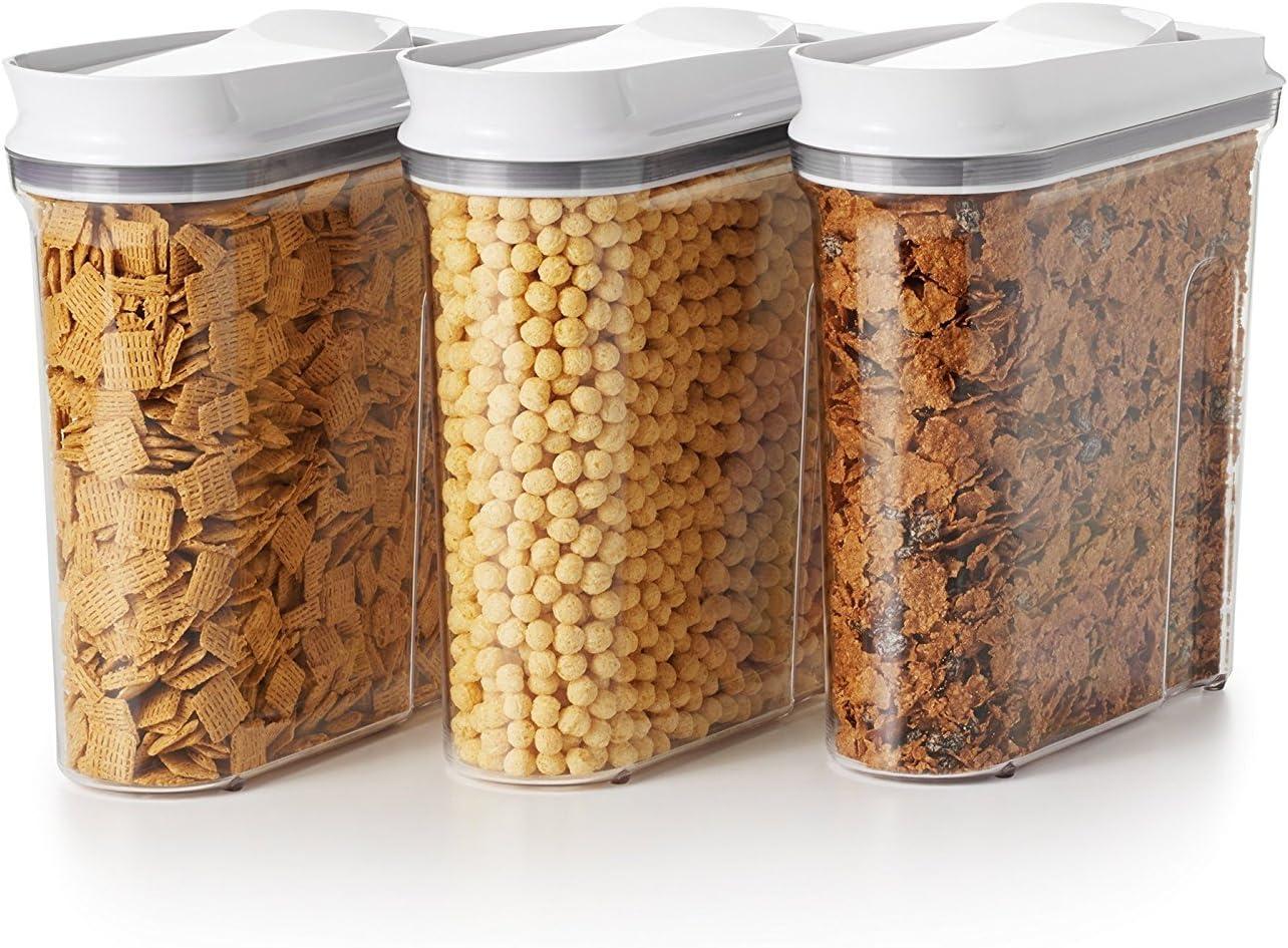 Amazon Com Oxo Good Grips 3 Piece Airtight Pop Cereal Dispenser Set Clear 3 Piece Cereal Set Dispenser Kitchen Dining