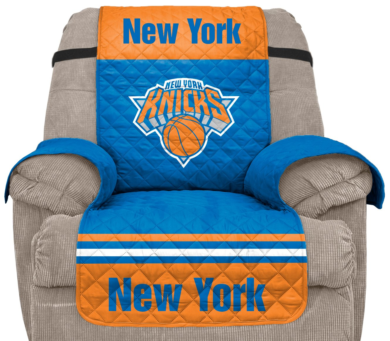 Pegasus Sports NBA New York Knicks Unisex Nbanba Furniture Protector with Elastic Straps, Blue, Recliner by Pegasus Sports