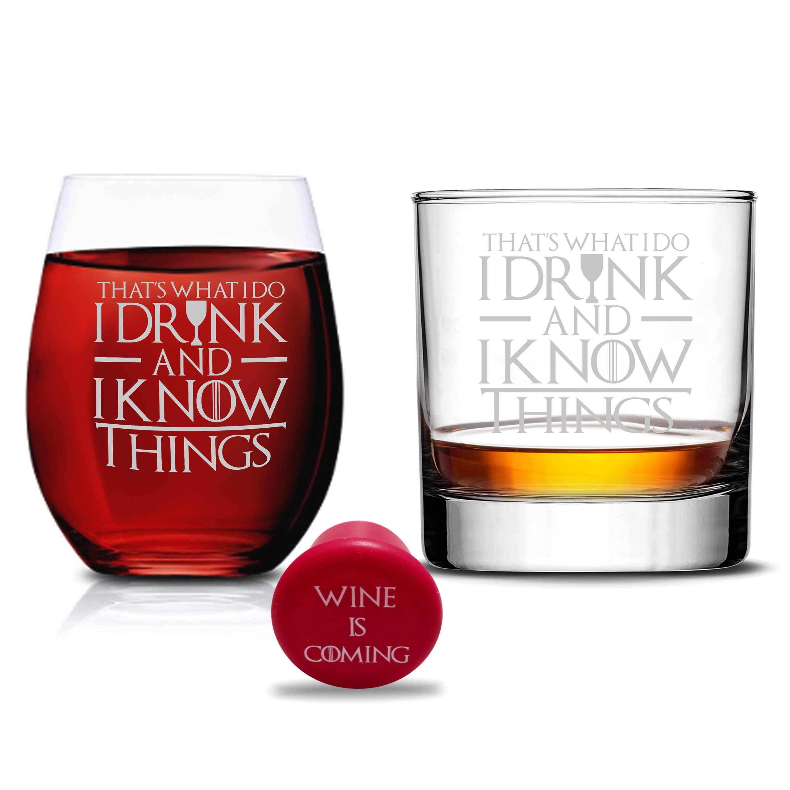 Game Of Thrones Glasses - I Drink and I know Things Whiskey Highball and I Drink and I Know Things Wine Glass - Set of 2 -