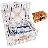"""Picknickkorb """"PickPack"""" mit Kühlfach, Kühlpacks und Geschirr in weiß oder braun (weiß)"""