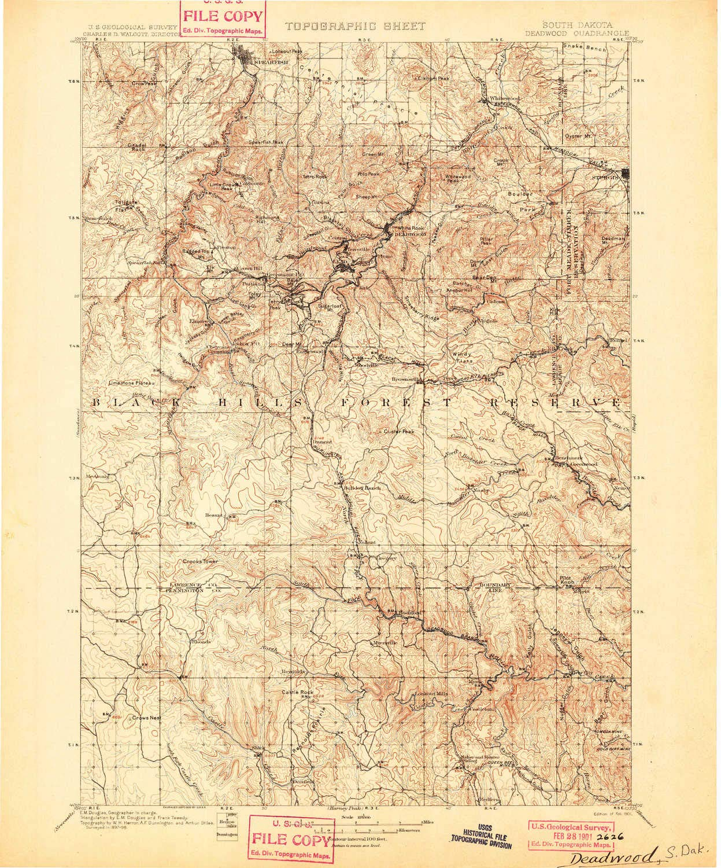 Amazon.com: YellowMaps Deadwood SD topo map, 1:125000 Scale, 30 X 30 on