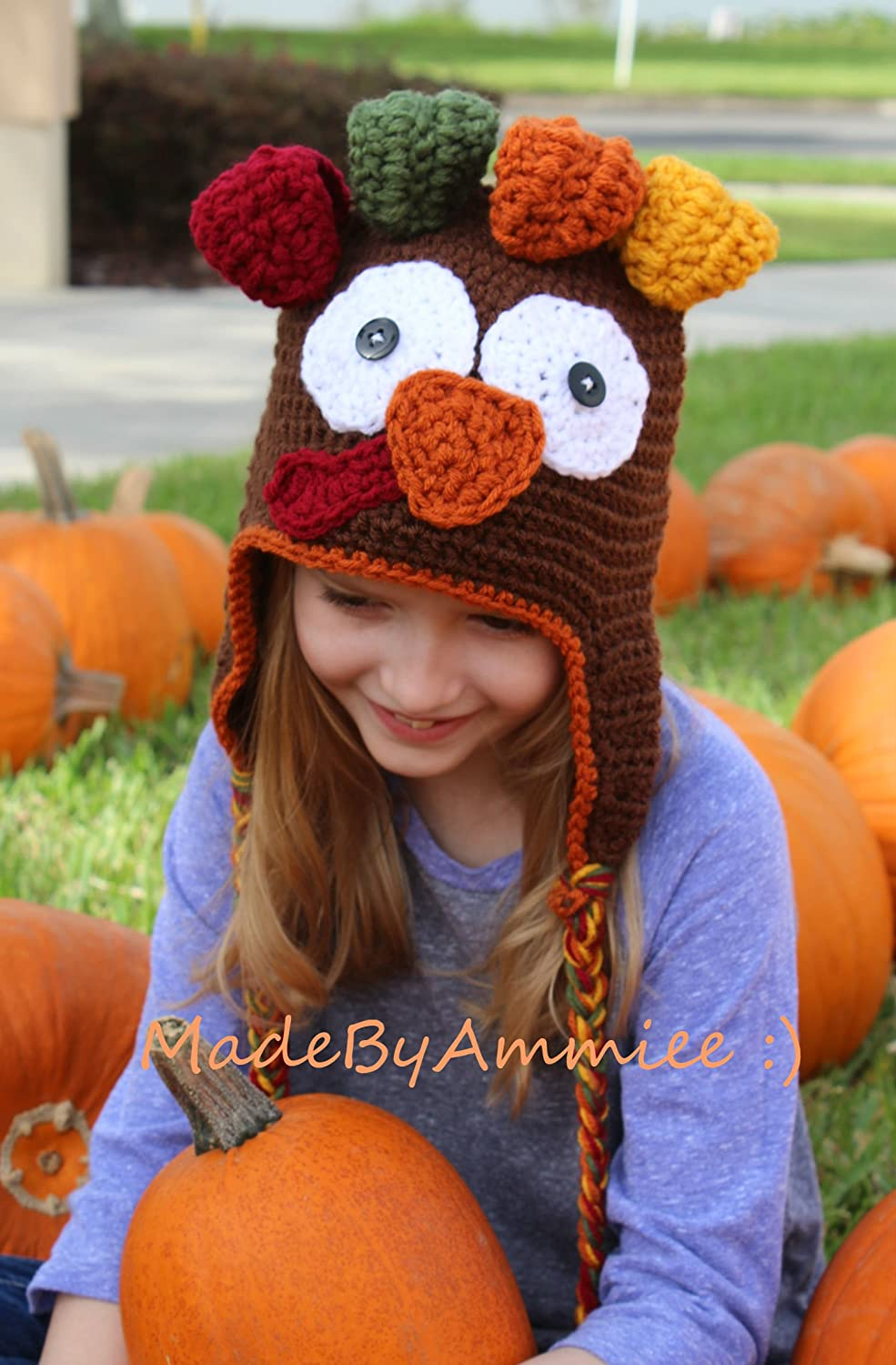 Baby/ Toddler/ Child Turkey/ Thanksgiving Earflap Beanie