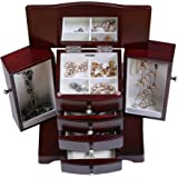 Mele & Co. Bette Wooden Jewelry Box, Ring, Necklace, and Earring Organizer