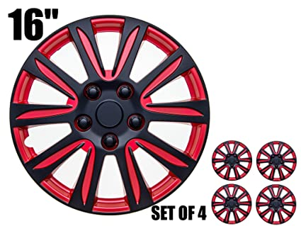 Image Unavailable. Image not available for. Color: 16 inch Hubcaps - RED and ...