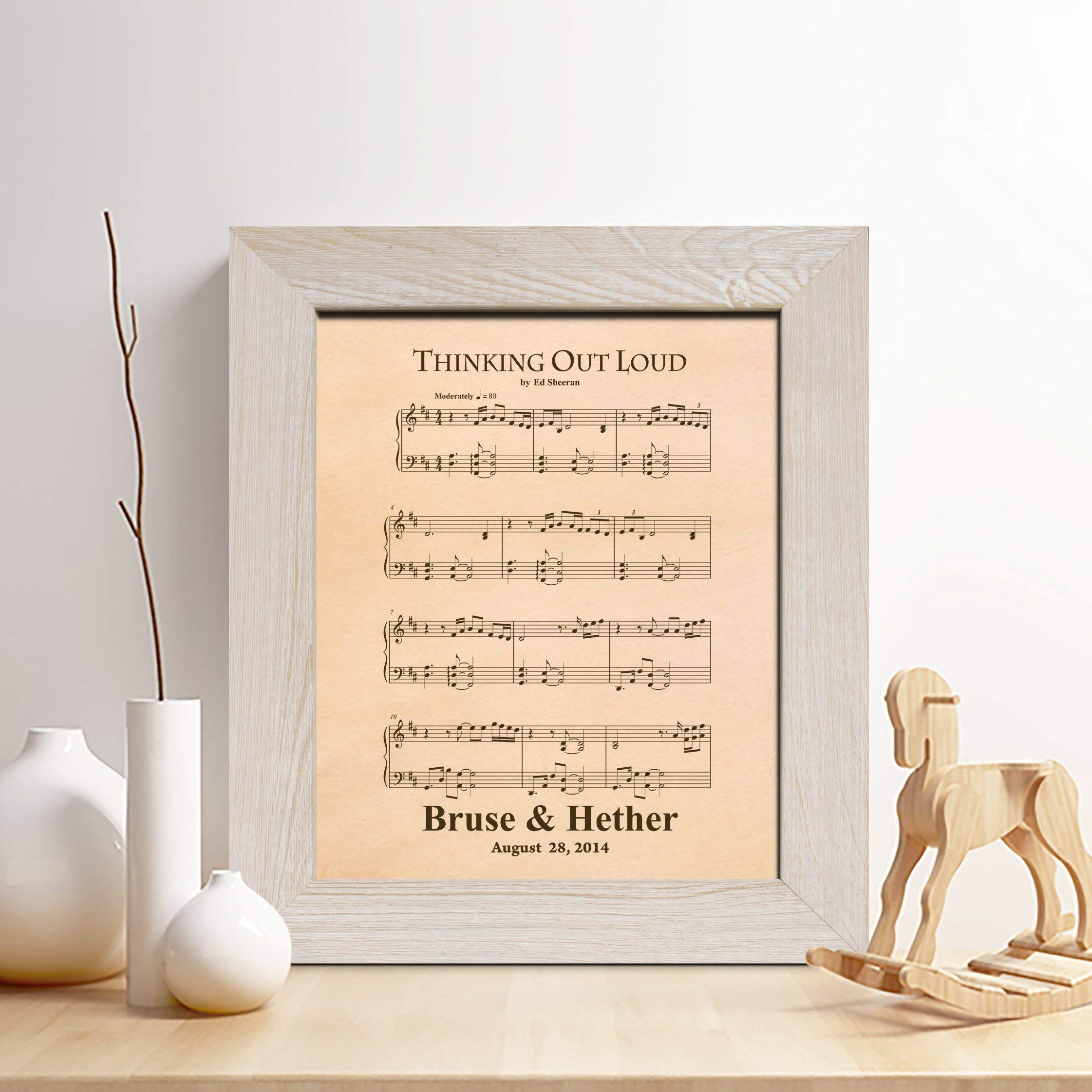 Personalized Leather 3rd Anniversary Gift for Him or Her, First Dance Song Leather Engraving, Music Notes Sheet, Gifts for Husband and Wife, 3 Years Together