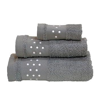 Lunares Toallas De Baño De - Juego de 3 piezas - Toalla de mano, toalla de baño (+ + toalla para la cara (- Gris w/color blanco: Amazon.es: Hogar