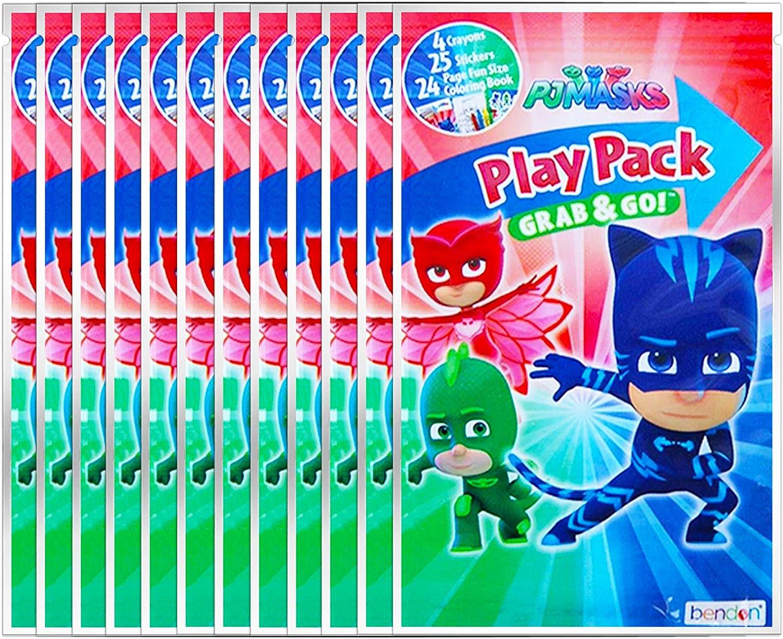 Paquete de 12 máscaras de pijama con pegatinas, libros para colorear, lápices de colores (suministros para fiesta)