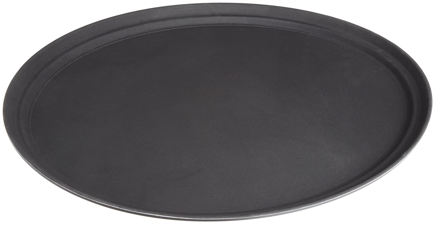 Stanton Trading Non Skid Rubber Lined 16-Inch Plastic Round Economy Serving Tray Black