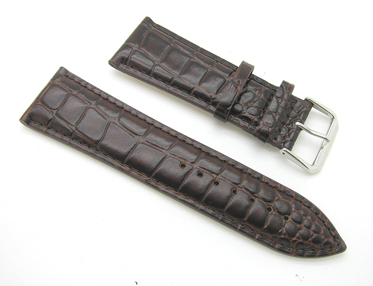 26 mmブラウンCorcodile Grain Leather Watch Band withスプリングバー  B01KDA6Y3S