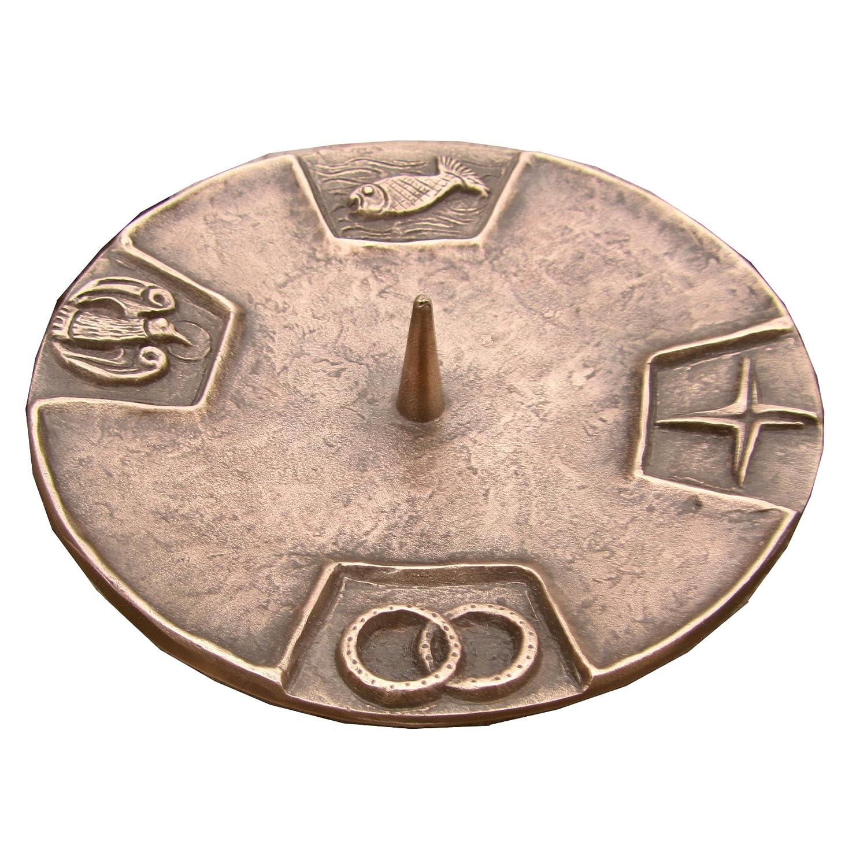 Taufkerzenleuchter Kerzenleuchter Leuchter 4 Symbole 15 cm Bronze Edelpatina braun Wilde Kunstgusshandel 4260402360805