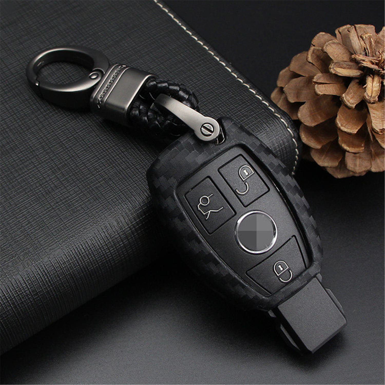 m. JvisunソフトシリコンゴムカーボンファイバーテクスチャカバープロテクターforメルセデスベンツキーFob車、キーレスエントリーリモートキーFobケースfor Benz A C E SクラスGLK CLA GLA GLC GLE CLS SLK AMG e260l c200l ブラック M.JVISUN-GJTW-BC B07BNBYWL8 Black Weave Keychain Black Weave Keychain