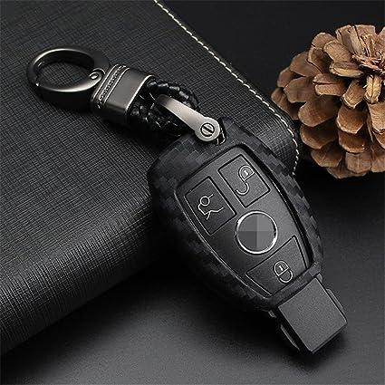 M.JVisun - Funda de Piel para Llave de Mercedes Benz, con Llavero y Gancho metálico
