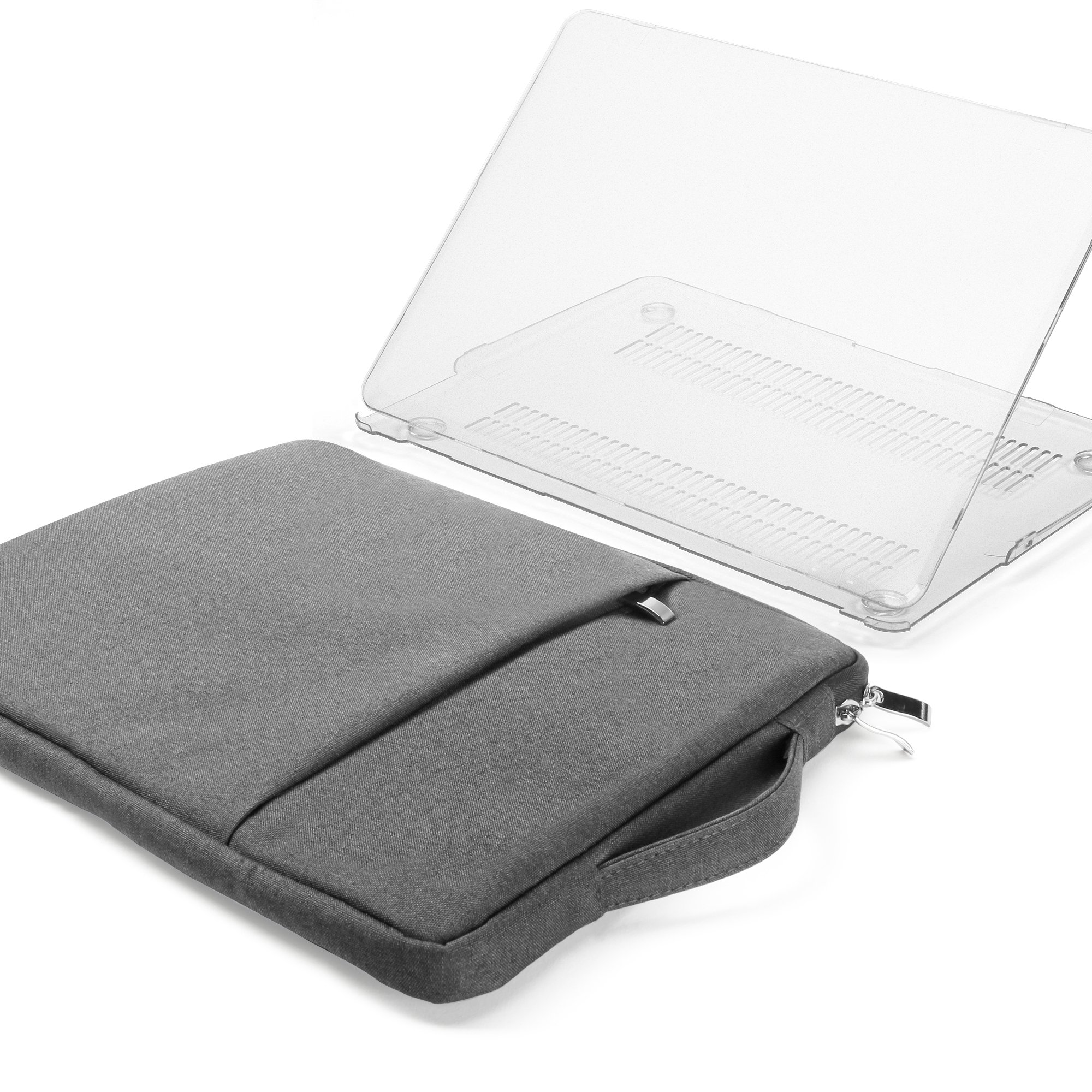 GMYLE 2 in 1 Bundle Clear Transparent See Through Soft-Touch Matte Plastic Hard Case for Macbook Air 13 inch (Model:A1369/ A1466) and 13-13.3 inch Water Resistant Protective Laptop Bag Sleeve, Grey