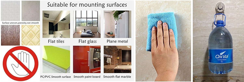 Ventosa Gancho vacío ventosa gancho de acero inoxidable toalla de baño gancho Heavy Duty ventosa capacidad para hilo ventosa ganchos de pared cocina y baño ...