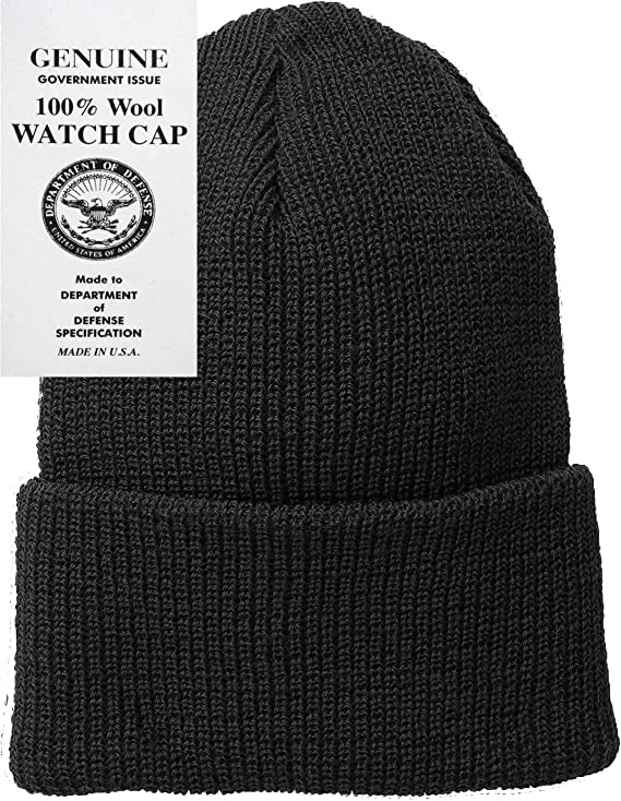 fe6a56c961408f Amazon.com: Black Military Genuine GI US Department of Defense 100% Wool  Watch Cap (2-Pack): Military Apparel Accessories: Clothing
